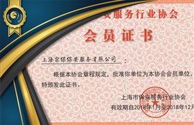 上海保安协会会员证书